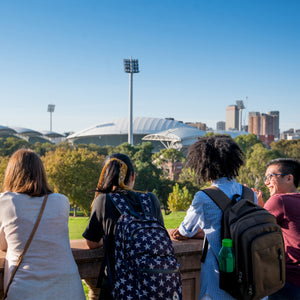 Students at Montefiore Hill looking at Adelaide Oval and CBD