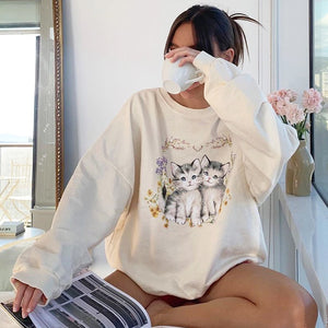 Floral Cat Sweatshirt