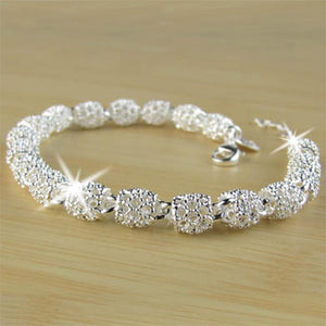 Silver Plated Hollow Beads Bracelet