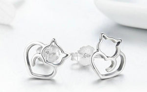 Cat Silver Earring