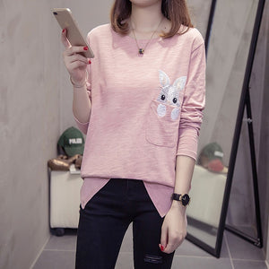 Autumn Bunny Embroidery Sweatshirt