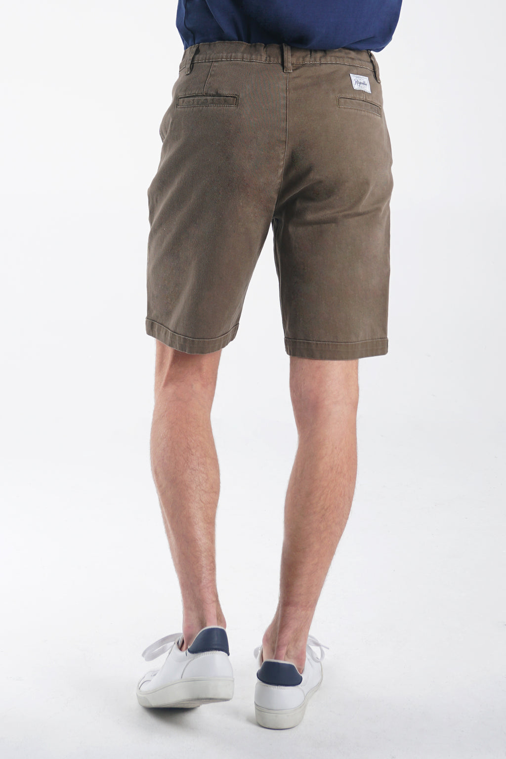 Mid Rise Chino Shorts With Zipper Fly