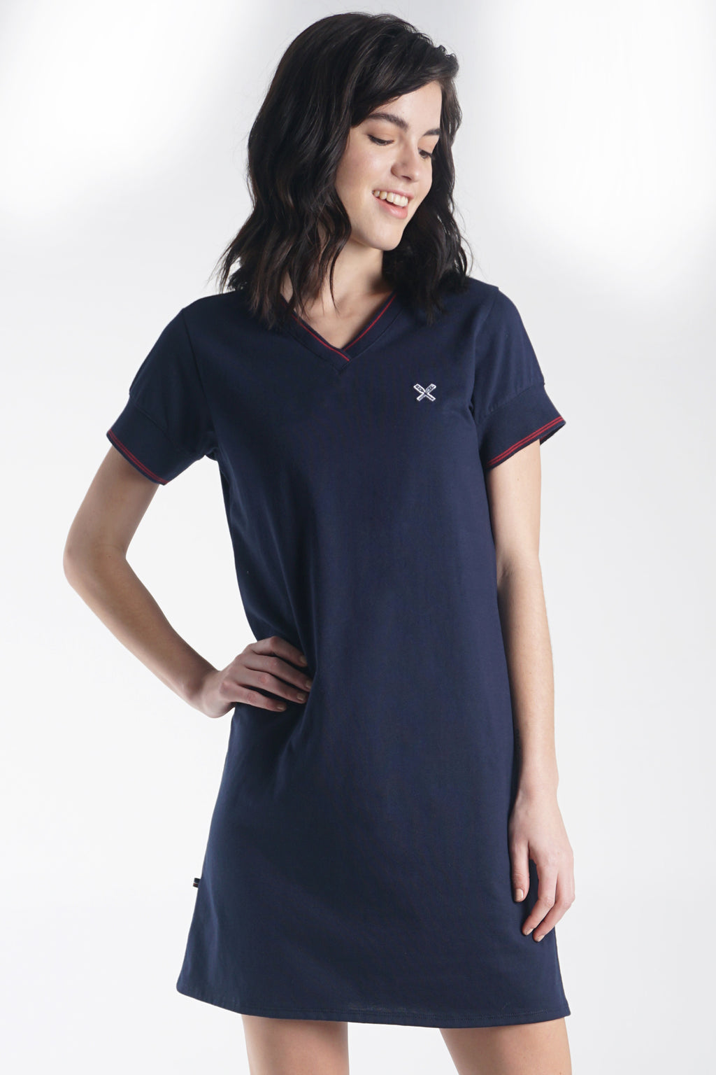 Regular Length Shift Dress With Cut & Sew Panel