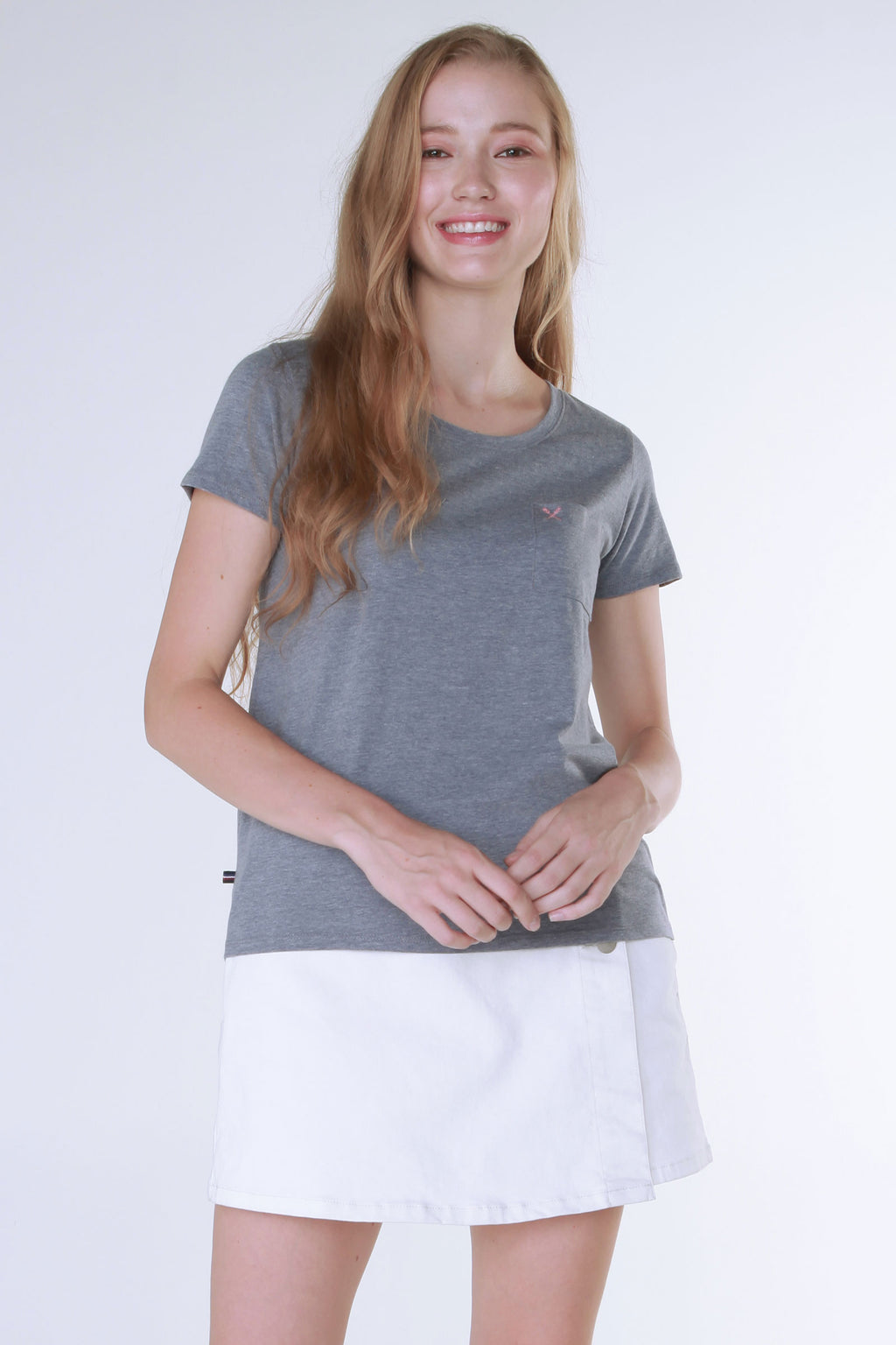 Heather Tee With Pocket Detail