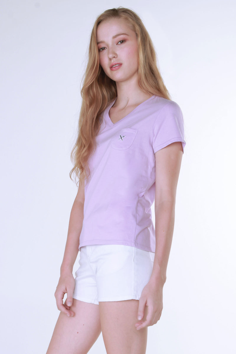V Neck Tee With Pocket Detail