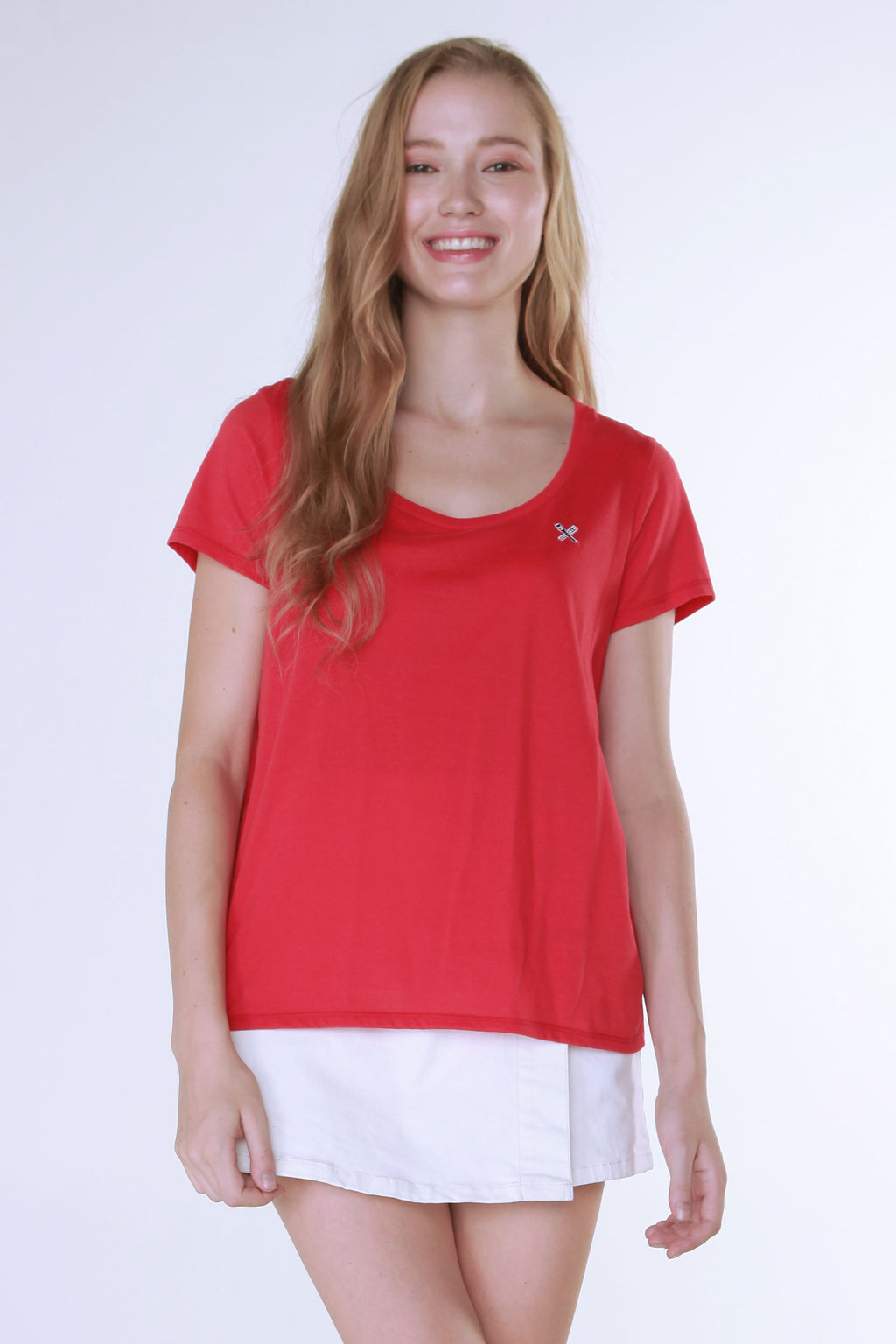 Single Jersey Tee With Scooped Neck