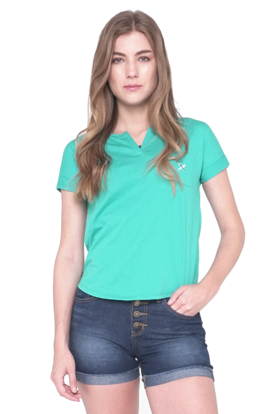 Split Neckline Tee With Pocket