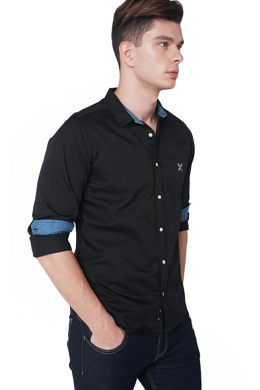 Long Sleeve Poplin Shirt With Contrast Trim