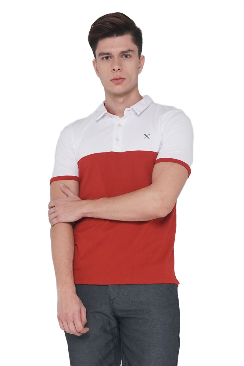 Polo Pique With Color Blocking Accent