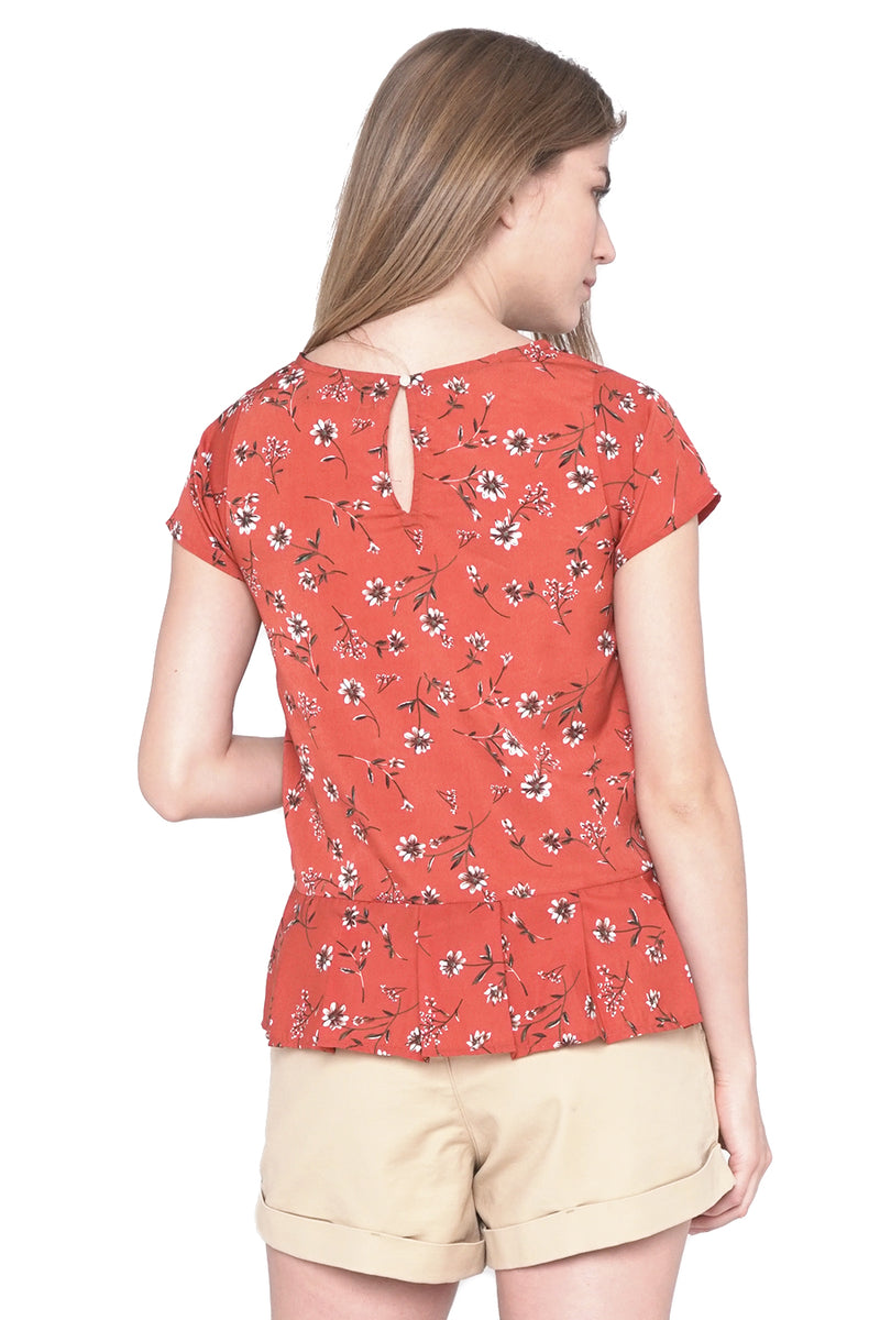 Floral Print Top with Peplum Detail