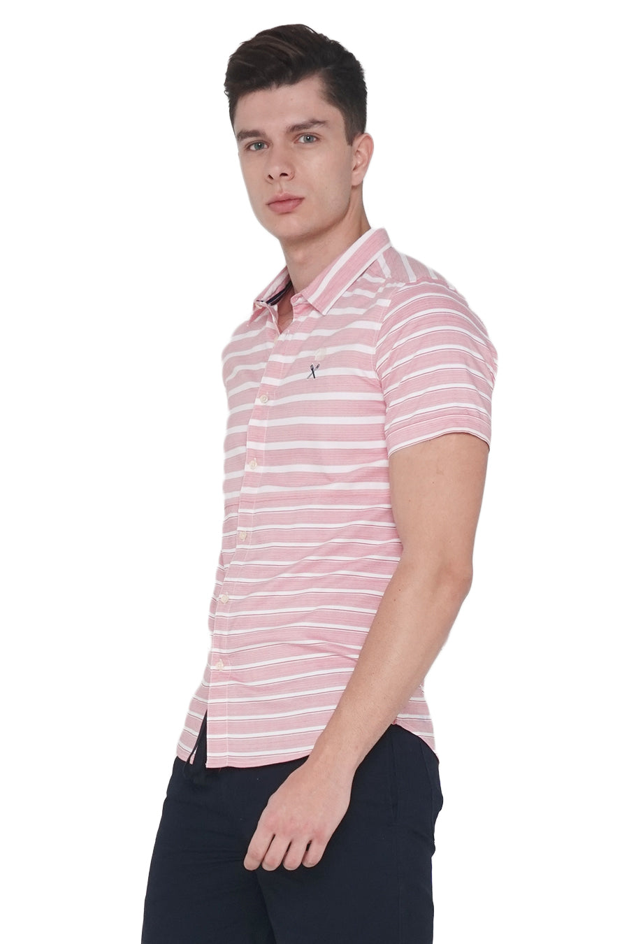 Striped Poplin Shirt With Cut & Sew Panel