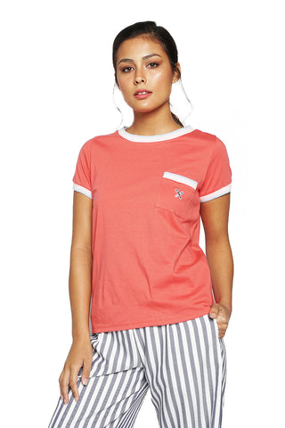 Round Neck Tee With Tipping Detail