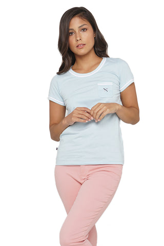 Ribbed Tee with Contrast Tipping