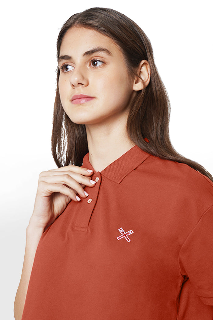 Boxy Polo Shirt With Embroidery