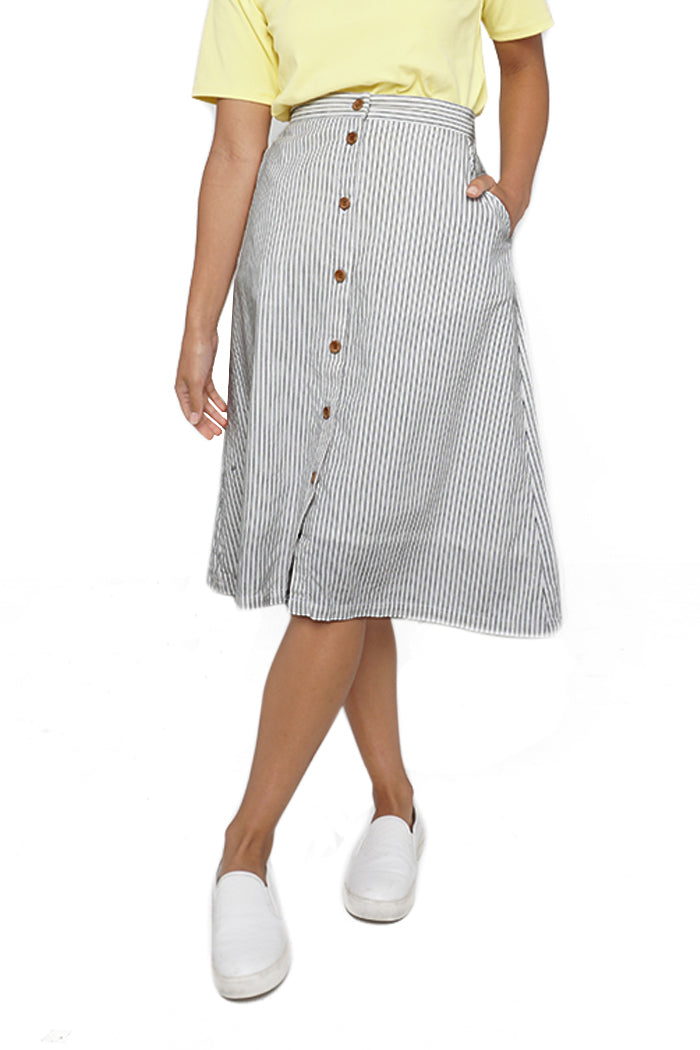 Mid-Length Buttonfront Skirt