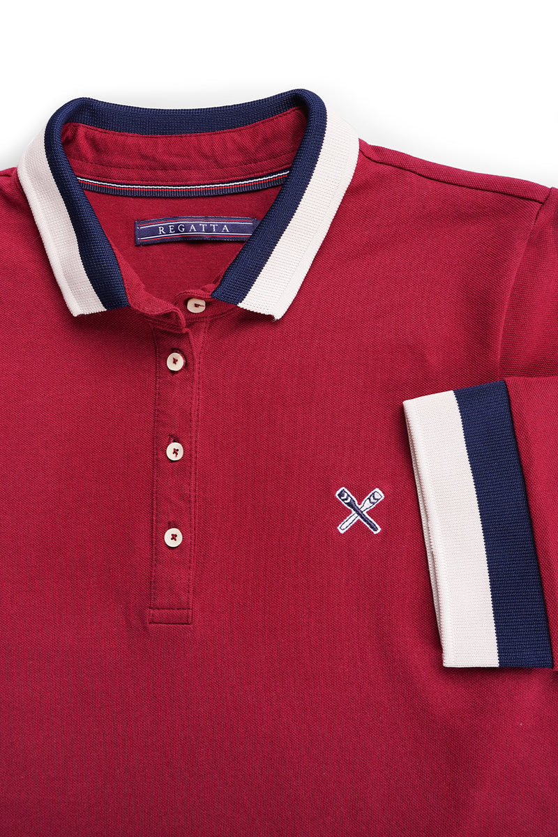 Solid Polo with Stripe Cuffs and Collar Set