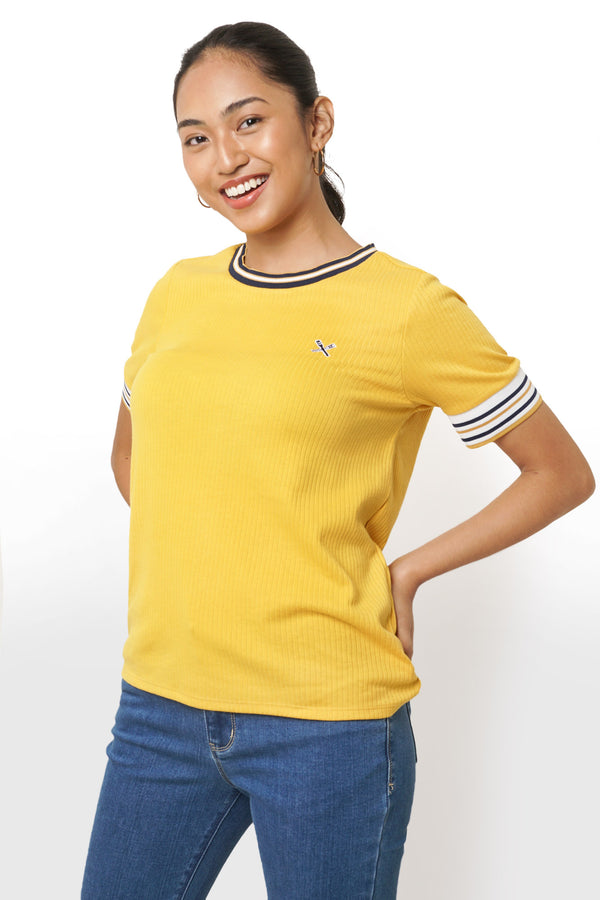 Solid Tee with Stripe Tipping in Heavy Jersey