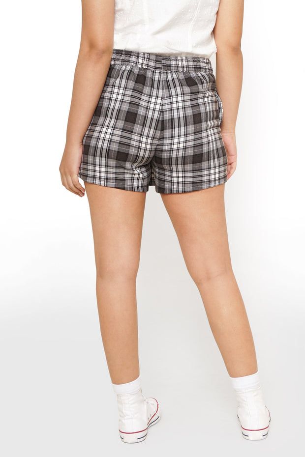 Checkered Wrap Skort With Button-Front Detail