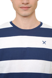 Regular Fit Round Neck Tee In Stripes