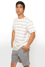 Regular Fit Round Neck Tee With Printed Stripes