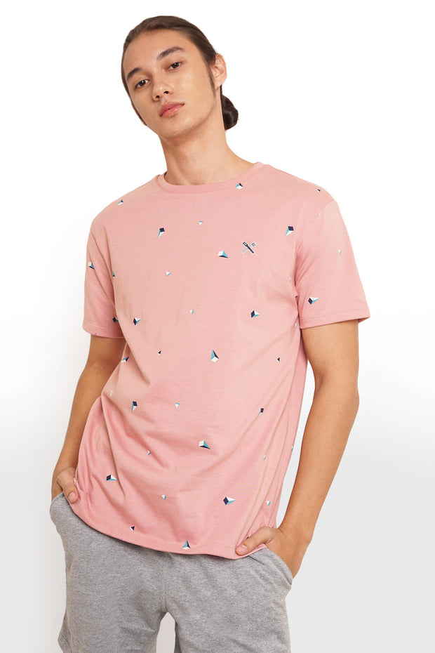 Regular Fit Round Neck Tee With All Over Print