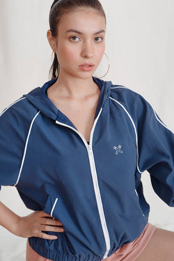 Synthetic Material Windbreaker With Hood