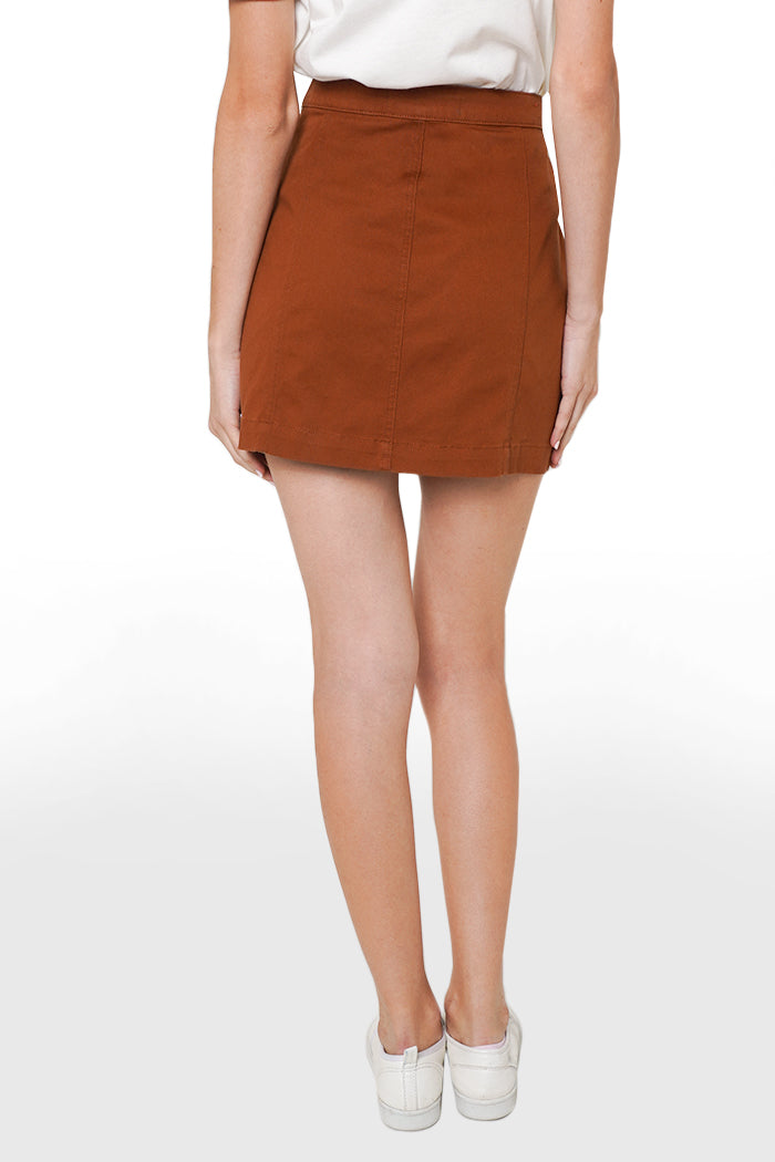 Knee-Length A-Line Skirt With Cut And Sew Panel