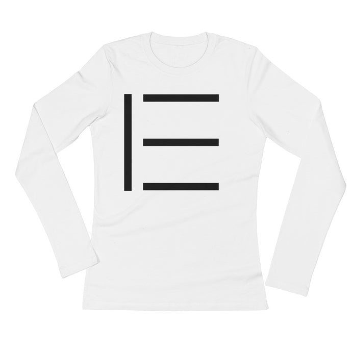 E SIGNATURE WOMENS LONG SLEEVE LOGO TEE WHITE