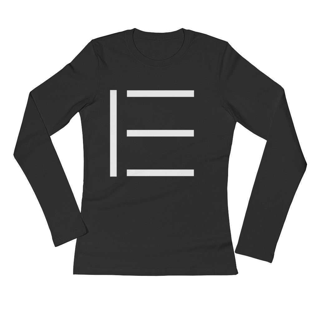 E SIGNATURE WOMENS LONG SLEEVE LOGO TEE BLACK
