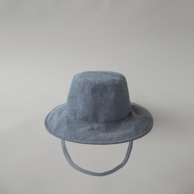 Cotton Bucket Hat Denim w. Tie