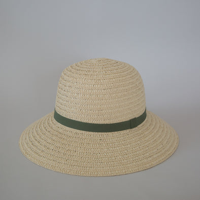 So Shady Ribbon Hat Ivory w. Sage