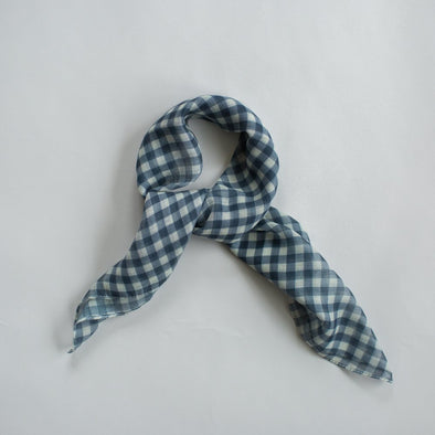 GINGHAM MINI SCARF NAVY