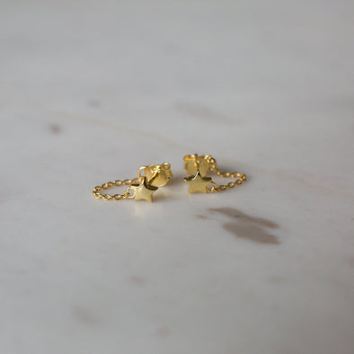 Twinkle Chain Studs Gold