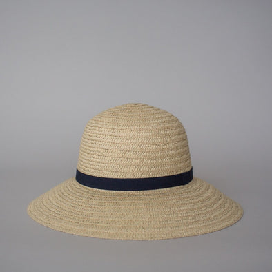 So Shady Ribbon Hat Ivory w. Navy