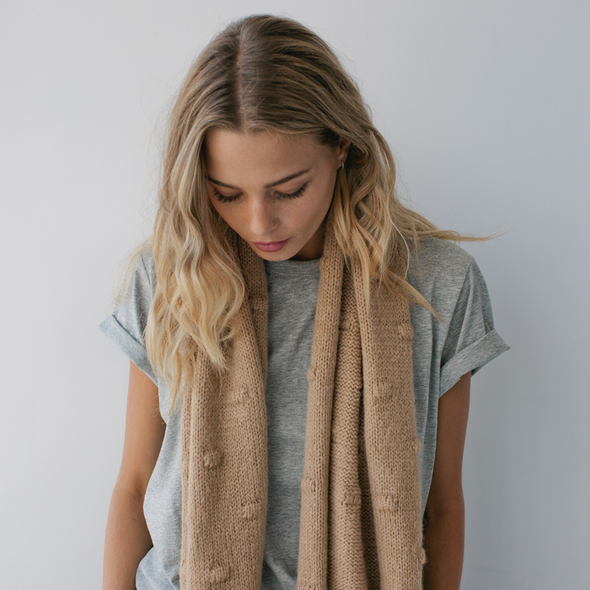 Bobble Knit Scarf Wheat