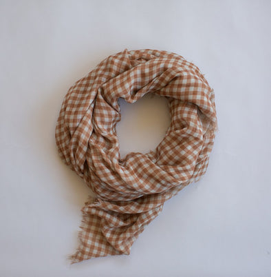 Gingham Maxi Scarf Toffee