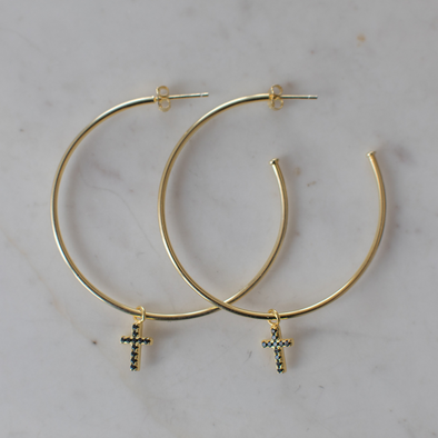 Sparkle Cross Hoops Black