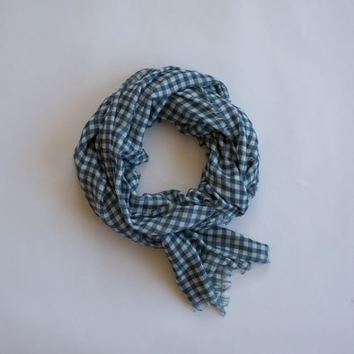 Gingham Maxi Scarf Navy