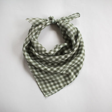 Gingham Mini Scarf Khaki
