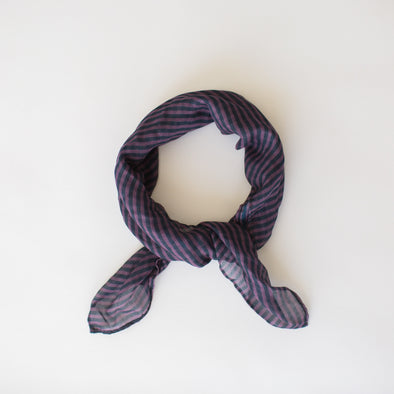 Stripes Mini Scarf Berry Navy