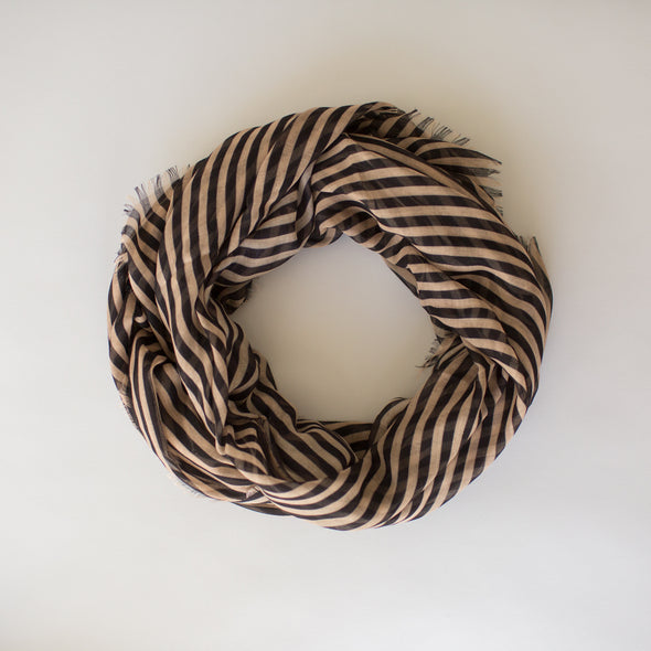 Stripes Maxi Scarf Camel Black