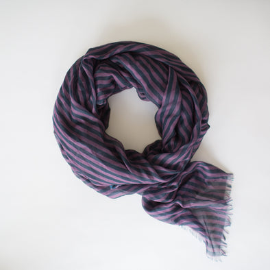 Stripes Maxi Scarf Berry Navy