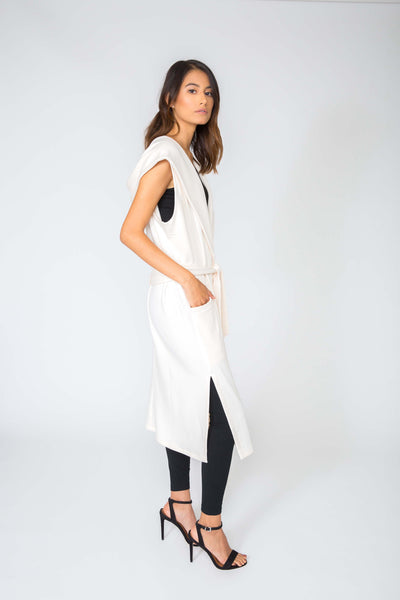 CREAM ESTELLE LONG PLUSH VEST