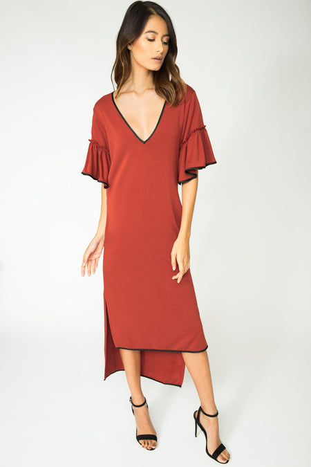 AUDREY RUFFLE SLEEVE DRESS