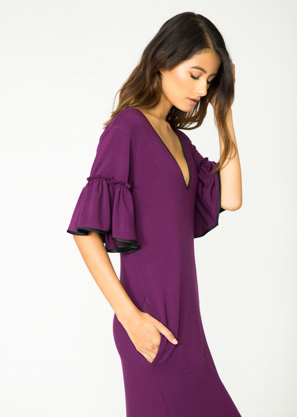 PLUM AUDREY RUFFLE SLEEVE DRESS