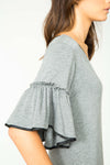 SLATE AUDREY RUFFLE SLEEVE DRESS