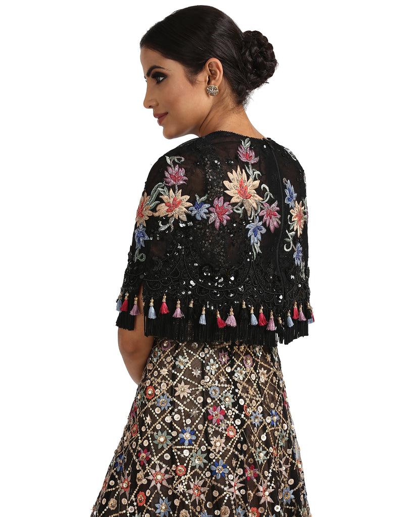 Embroidered Lace Cape- Black