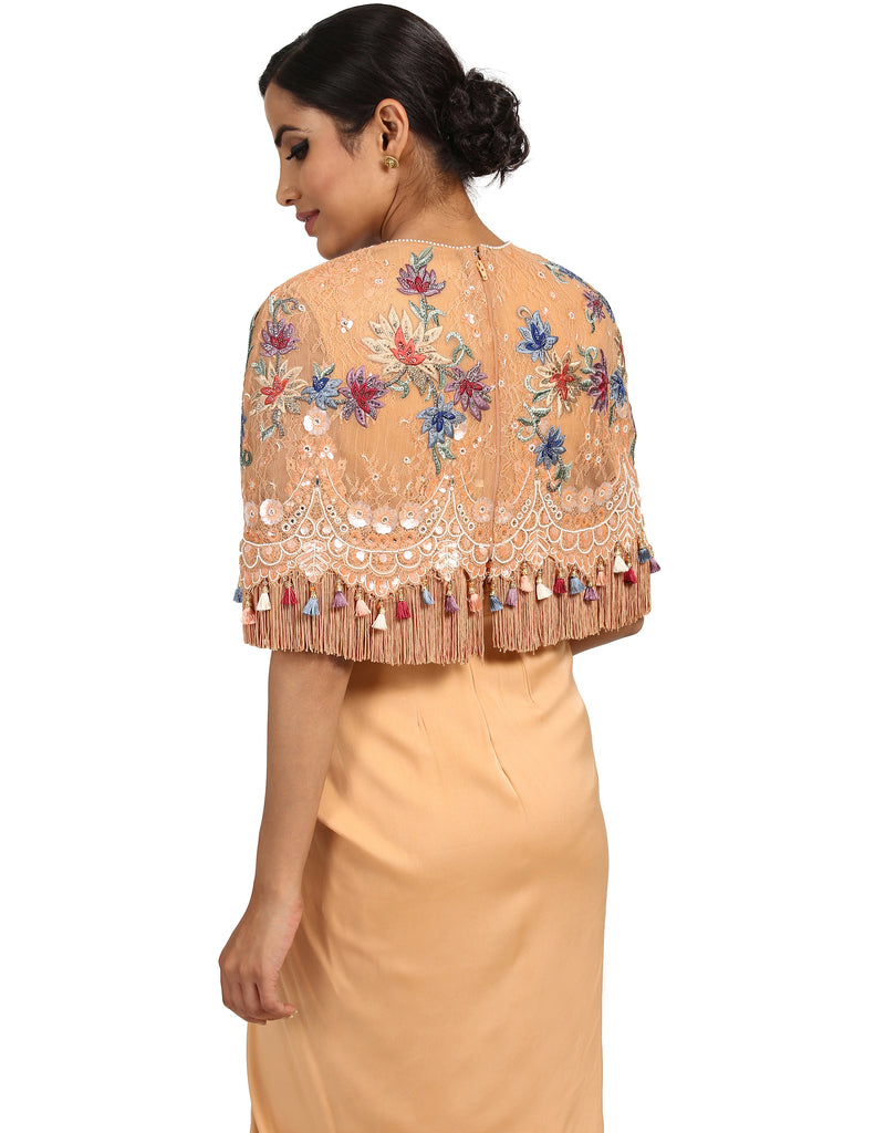 Embroidered Lace Cape- Peach