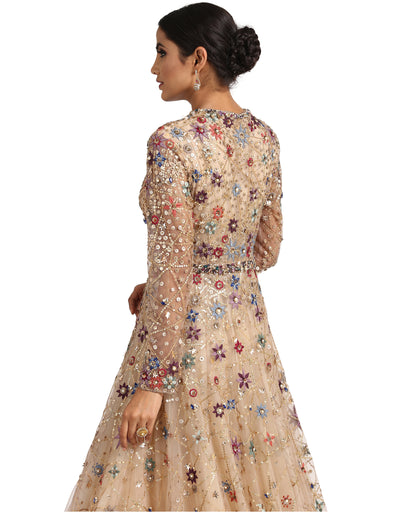 Embellished Ombre Anarkali - Peach