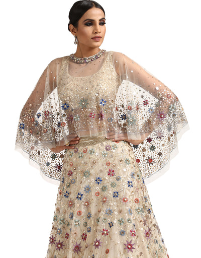 Embellished Cape with Hand Embroidery- Ivory
